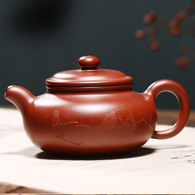 Yixing Handmade Antique Pot Big Red Bobe Buddhism Pattern