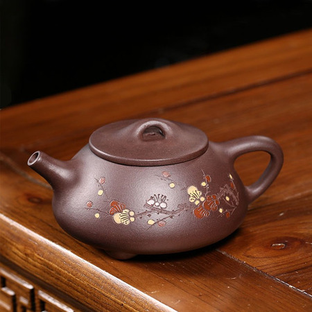 Yixing Handmade Kung Fu Tea Set Purple Mud Stone Scoop Winter Plum