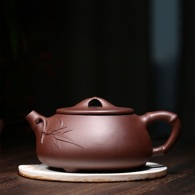 Yixing Handmade Stone Scoop Pot Bamboo Design Purple Mud