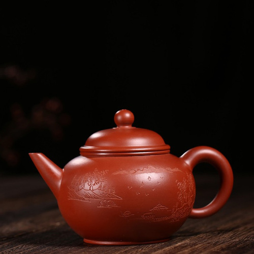Yixing Handmade Purple Clay Teapot Horizontal Pot Landscape Pattern Big Red Bobe Mud
