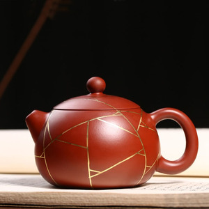 Handmade Xishi Purple Clay Teapot Golden Striped Kung Fu Tea Set Big Red Bobe
