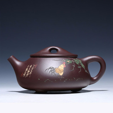 Yixing Handmade Kung Fu Tea Set Purple Mud Stone Scoop Cock Crow