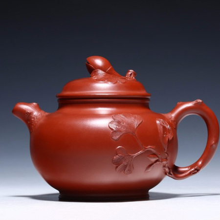 Yixing Handmade Pistachio Pattern Purple Clay Teapot Big Red Bobe