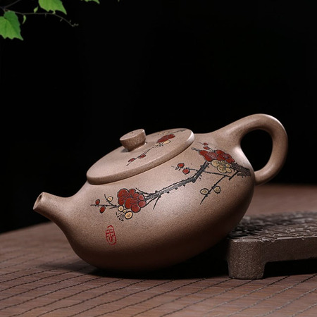 Yixing Handmade Kung Fu Tea Set Golden Mud Stone Scoop Plum Flower