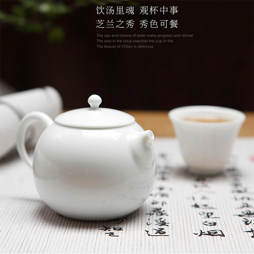 White Porcelain Small Teapot Pear Type Round Shape Home Office Jingdezhen Porcelain