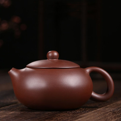 Yixing Handmade Xishi Purple Clay Teapot Kung Fu Pure Purple Mud Tea Set Flat type