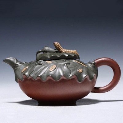 Yixing Handmade Famous Artist Purple Clay Teapot Kung Fu Tea Set Green Mud Spring Silkworm