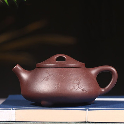 Yixing Handmade Stone Scoop Pot The Fun Of Carving Birds Purple Mud