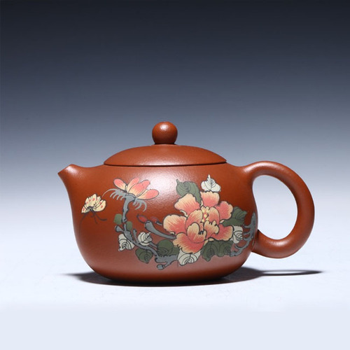 Handmade Xishi Purple Clay Teapot Set Cinnabar Mud Five Color Peony Flower