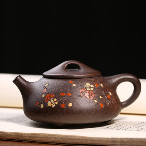 Yixing Handmade Kung Fu Blace Galaxy Stone Scoop Plum Flower Fragrancy