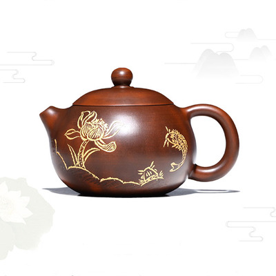 Yixing Handmade Xishi Purple Clay Teapot Carved Household Tea Set Lotus Fish