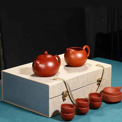 Yixing Handmade Xishi Purple Clay Teapot Gift Box Set 12 Piece Set Big Red Bobe