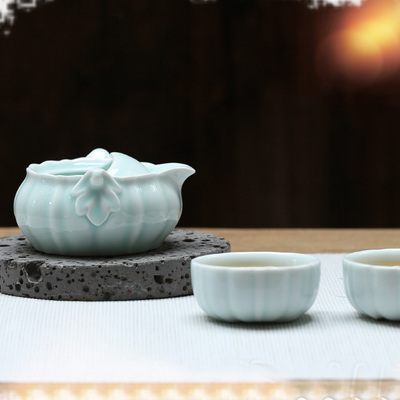 Light-Blue Porcelain Personal Cup One Pot And Two Cups Of Tea Set Hand Gripping Pot Travel Portable