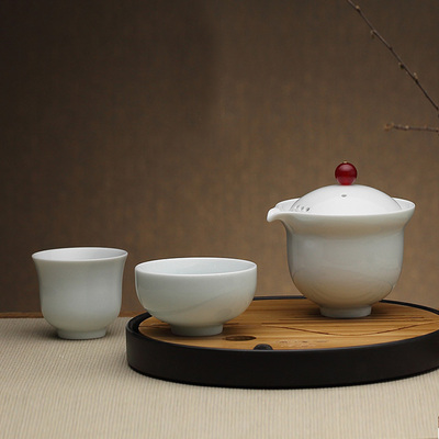 Portable Personal Cup One Pot And Two Cups Of Tea Set Household Travel Kung Fu Cup Jingdezhen