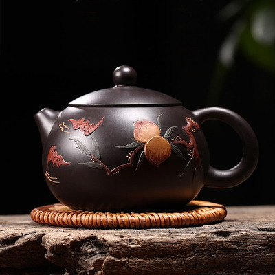 Yixing Handmade Xishi Black Mud Purple Clay Teapot Fairy Peach Household Tea Set