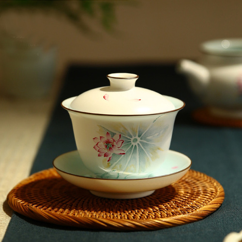 Jingdezhen Cover Bowl of Tea Bowl Hand Painted Lotus Orchid Bamboo