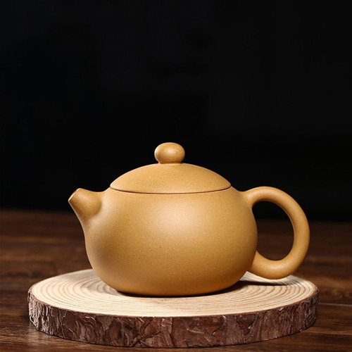 Handmade Xishi Purple Clay Teapot Famous Works Golden Mud Nine Holes