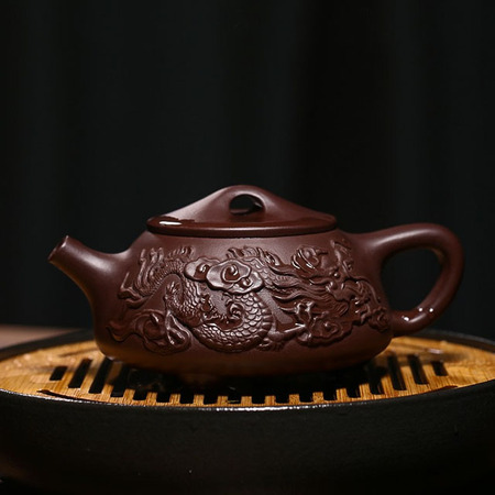 Yixing Handmade Kung Fu Tea Set Old Purple Mud Dragon Stone Scoop