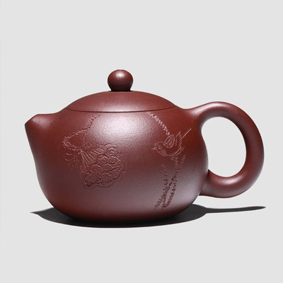 Yixing Handmade Xishi Purple Clay Teapot Set Suit Purple Mud Elegant Flowers Birds