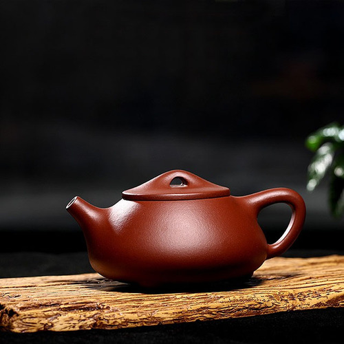 Yixing Handmade Purple Clay Teapot Stone Scoop Pot Bottom Groove Cyan
