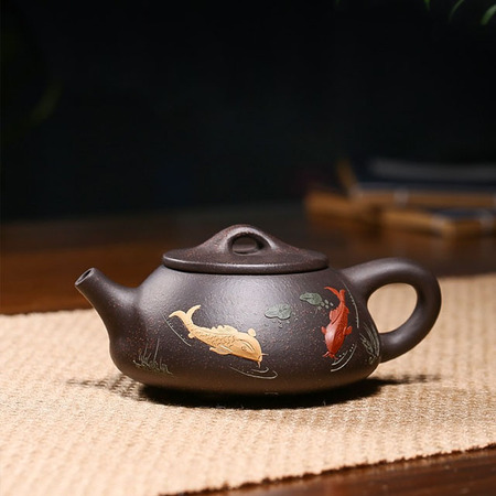 Yixing Handmade Stone Scoop Pot Carp Leap Dragon Gate Black Gold Sand