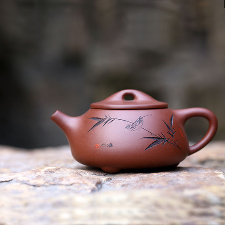 Yixing Handmade Purple Clay Stone Scoop Pot Engraved Bamboo Purple Mud