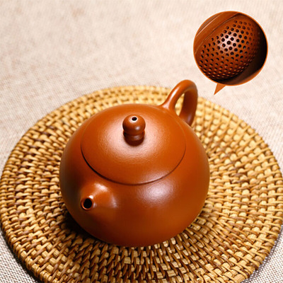 Yixing Handmade Xishi Purple Clay Teapot Kung Fu Ball Hole Tea Set Vermilion mud