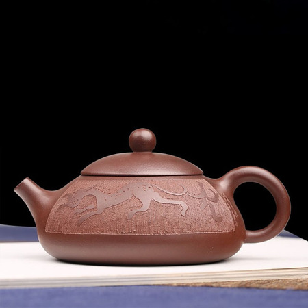 Yixing Handmade Kung Fu Tea Set Purple Mud Stone Scoop Engraving Colt