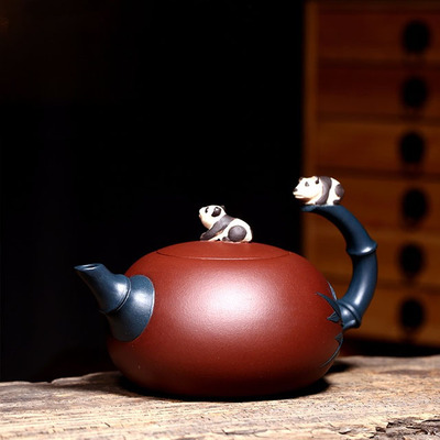 Handmade Xishi Purple Clay Teapot Suit Famous Carving Panda Pattern Purple Mud